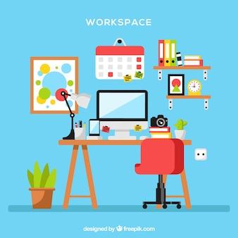 Современный офисный стол с ярким стилем