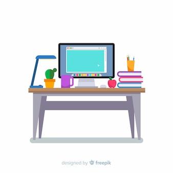Modern office desk with flat deisng