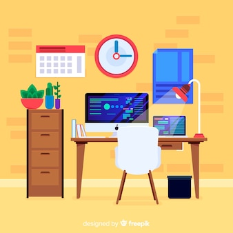 Modern office desk with flat design