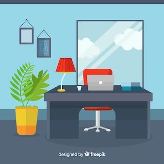 Modern office desk with flat design