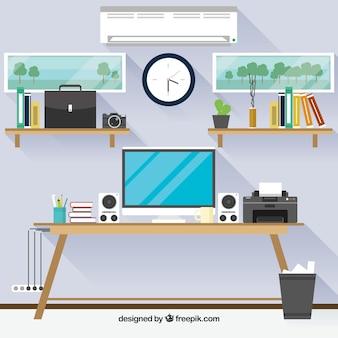 Современный офисный стол с фронтальным видом