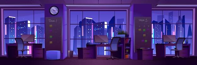 夜のモダンなオフィスインテリア