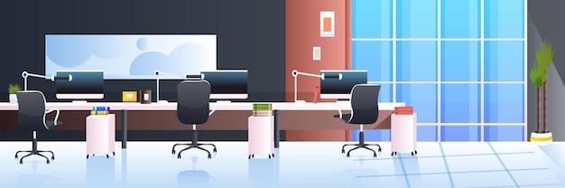 Современный офисный интерьер пустой без людей кабинет комната с мебелью горизонтальная