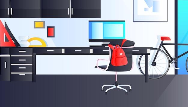 Современный офисный интерьер пустой без людей кабинетная комната с горизонтальной мебелью