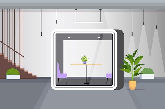 Современный офисный интерьер пустое рабочее пространство без людей в кабине с защитным стеклом горизонтальная векторная иллюстрация
