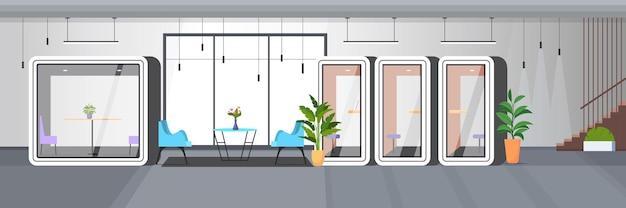 Современный офисный интерьер пустое рабочее пространство без людей с каютами горизонтальные векторные иллюстрации