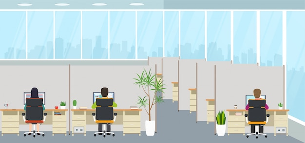 Modern office interior with employees