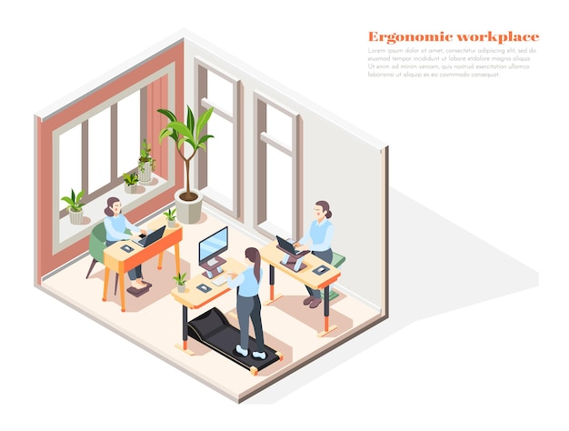 Interiore dell'ufficio moderno con scrivania ergonomica per sedersi e stare in piedi