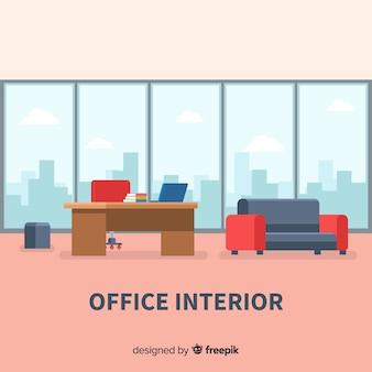 Modern office interior with flat design