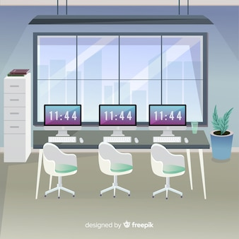 Modern office interior with flat design