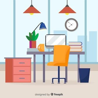 Современный офисный интерьер с плоским дизайном