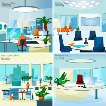 Modern office interiors 2x2 concept