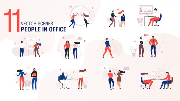 Modern office people character flat vector set