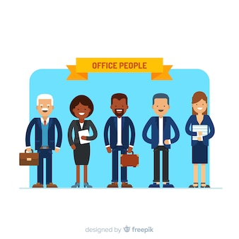 Modern office people composition with flat design