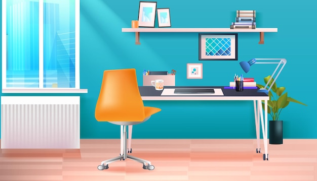 Modern office room or home cabinet interior empty no people workplace horizontal vector illustration