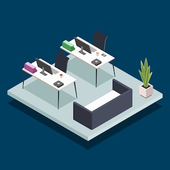 Modern office room isometric color illustration. university computer class. corporate manager, employee workplace. public library desks with laptops 3d concept isolated on blue background