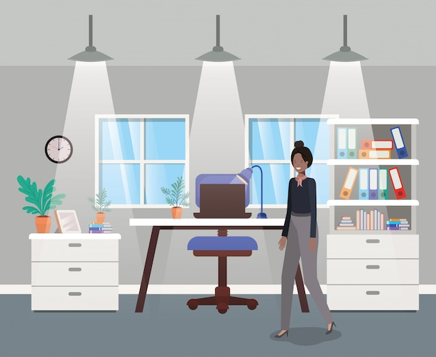 Modern office with black businesswoman