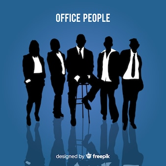 Modern office workers with silhouette style
