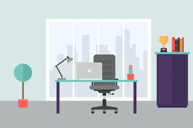 Современное офисное рабочее место в плоском стиле