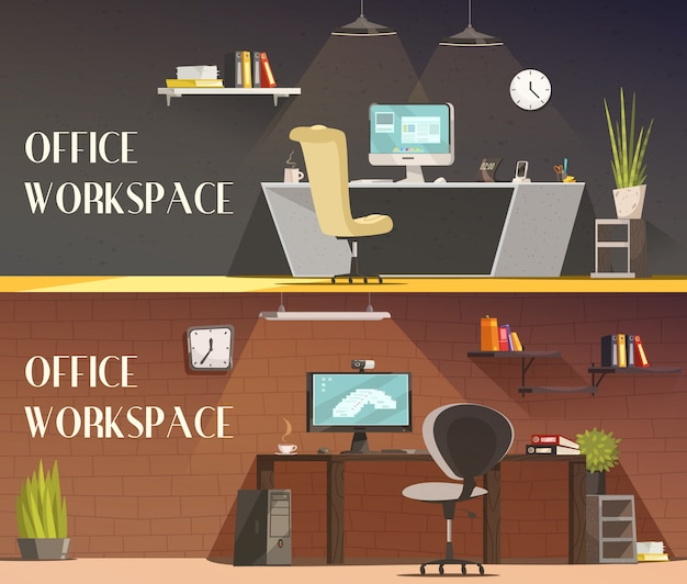 近代的なオフィスワークスペースの家具とアクセサリー