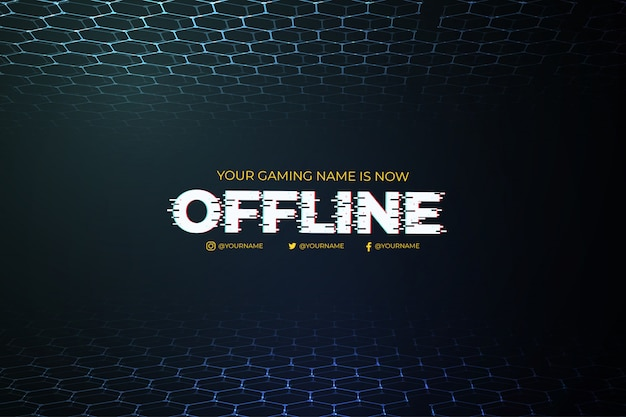 Modern offline twitch background with abstract 3d background template