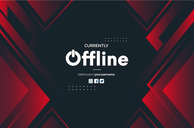 Modern offline twitch banner background with abstract red shapes