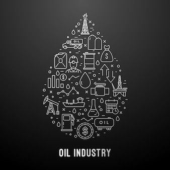 Modern oil industry line icons set.