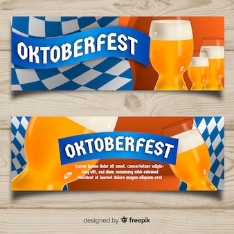 Modern oktoberfest banners with bavarian flag
