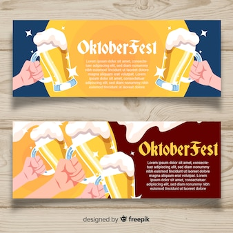 Modern oktoberfest banners with hands holding jars