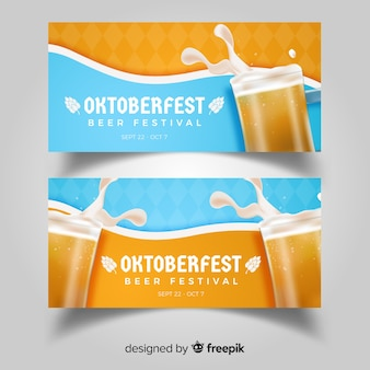 Modern oktoberfest banners with realistic design
