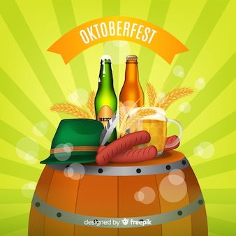 Modern oktoberfest composition with realistic design