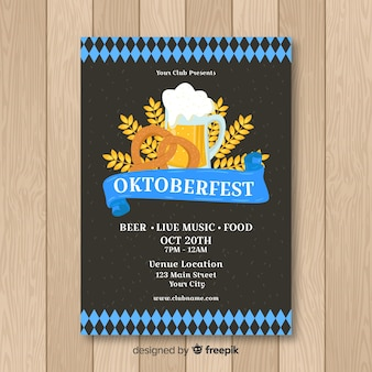 Modern oktoberfest flyer template with flat design