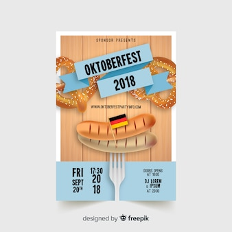 Modern oktoberfest flyer template with realistic design