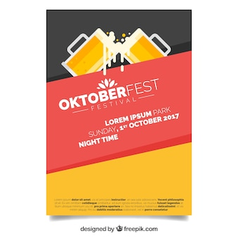 Modern oktoberfest poster with flat design