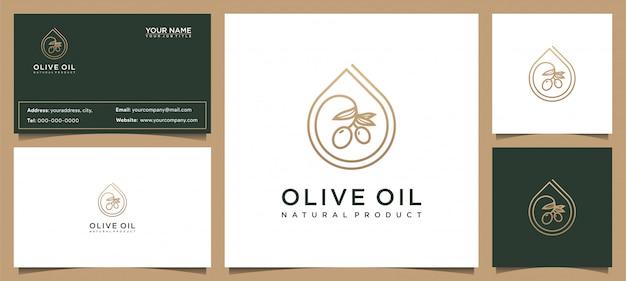 モダンなオリーブオイルのロゴデザインと名刺