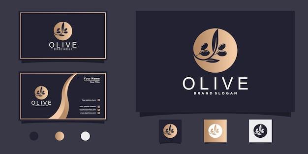 ゴールドグラデーションコンセプトと名刺デザインプレミアムvektorとモダンなオリーブオイルのロゴデザイン