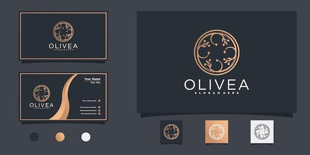 豪華な円の形と名刺プレミアムベクトルとモダンなオリーブオイルのロゴデザイン