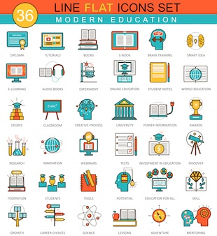 Modern online education flat line icons