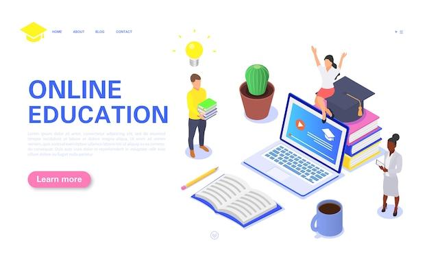 Современная концепция целевой страницы онлайн-образования. группа студентов изучает онлайн-курсы на компьютерах удаленно.