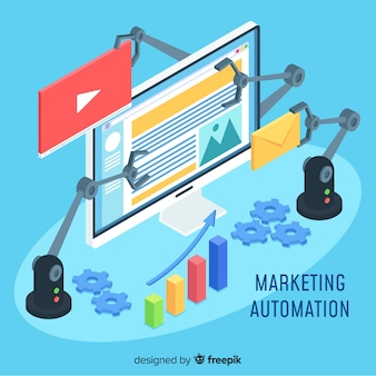 Modern online marketing concept with isometric view