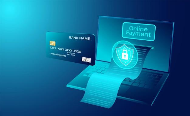 Современные онлайн-платежи с помощью кредитной карты на портативном компьютере