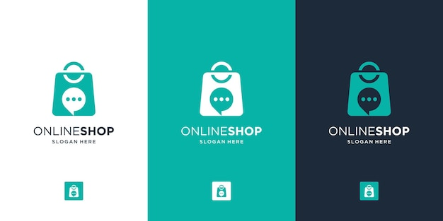 Modern online shop logo with creative combine bag and bubble chat symbol