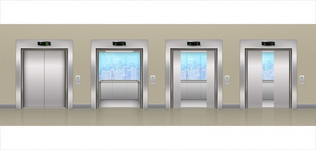 Modern open and closed metallic chrome office building passenger elevator with glass windows and city views. realistic lift in an empty corridor.