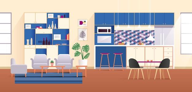 Современная открытая кухня и столовая с синими шкафами
