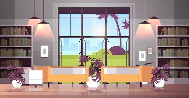 현대적인 열린 공간 비어 있는 아무도 사무실이나 거실 내부 현대적인 공동 작업 센터 수평