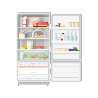 Modern opened refrigerator full of various food