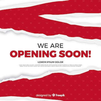 Modern opening soon background with paper sign