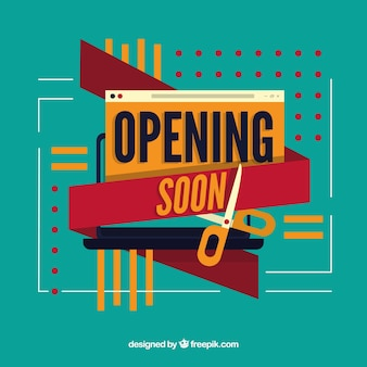 Modern opening soon composition with flat design