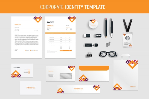Modern orange abstract professional business stationery set