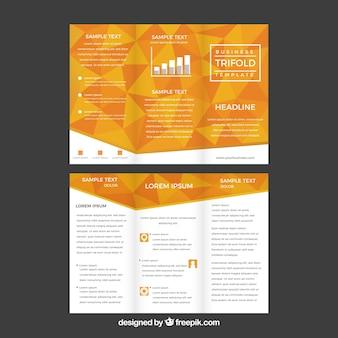 現代的なオレンジと白の三つ組のパンフレットのコンセプト